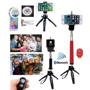 iBank(R) Selfie Ring Light + Universal Tripod + Selfie Stick + Bluetooth Remote Shutter (Red)