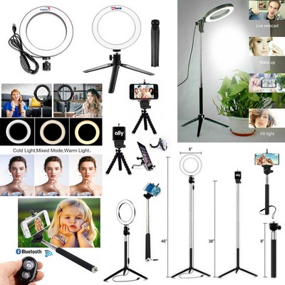 "iBank® 8"" Ring Light + Selfie Stick + Bluetooth Remote Shutter + 2 Tripods (Black)"